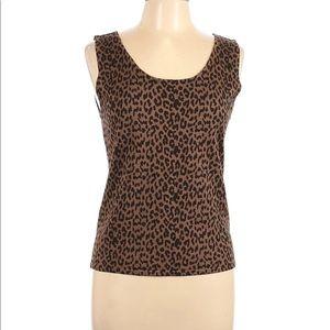 Tahari Leopard Print Knit Top Wool